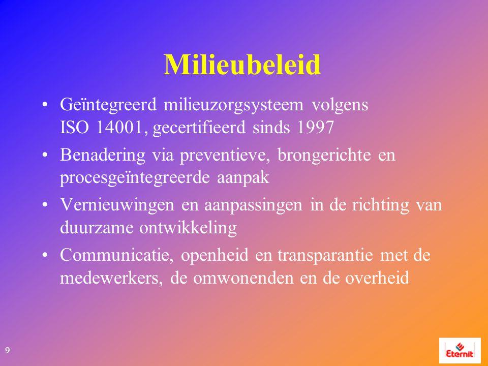 9 Milieubeleid Geïntegreerd milieuzorgsysteem volgens ISO 14001, gecertifieerd sinds 1997 Benadering via preventieve, brongerichte en procesgeïntegreerde aanpak Vernieuwingen en aanpassingen in de richting van duurzame ontwikkeling Communicatie, openheid en transparantie met de medewerkers, de omwonenden en de overheid