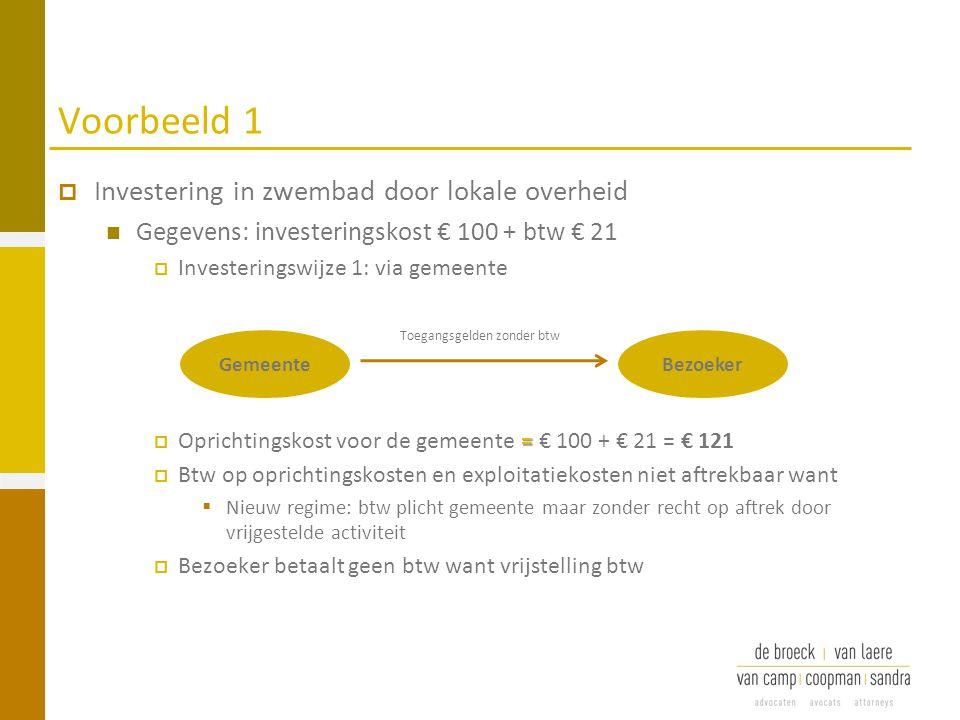 Voorbeeld 1  Investering in zwembad door lokale overheid Gegevens: investeringskost € 100 + btw € 21  Investeringswijze 1: via gemeente =  Oprichti