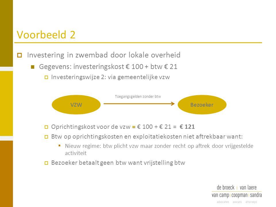 Voorbeeld 2  Investering in zwembad door lokale overheid Gegevens: investeringskost € 100 + btw € 21  Investeringswijze 2: via gemeentelijke vzw = 