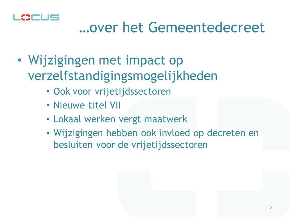 …voorbeeld uit Decreet Lokaal Cultuurbeleid Artikel 28 § 1 Decreet Lokaal Cultuurbeleid anno 2001: (...) De Vlaamse Regering geeft subsidies aan gemeenten die: 3° beschikken over een beheersorgaan voor het cultuurcentrum, hetzij overeenkomstig artikel 9, b), van het decreet van 28 januari 1974 betreffende het cultuurpact, hetzij overeenkomstig artikel 9, b), van hetzelfde decreet waarbij het beheersorgaan ten bedrage van maximaal 1/3 van zijn ledenaantal deskundigen kan coöpteren, hetzij overeenkomstig artikel 9, c), van hetzelfde decreet; voortaan ziet datzelfde artikel er anno 2009 als volgt uit: 3°beschikken over een beheersorgaan voor het cultuurcentrum conform de bepalingen van het decreet van 28 januari 1974 betreffende het cultuurpact; 4