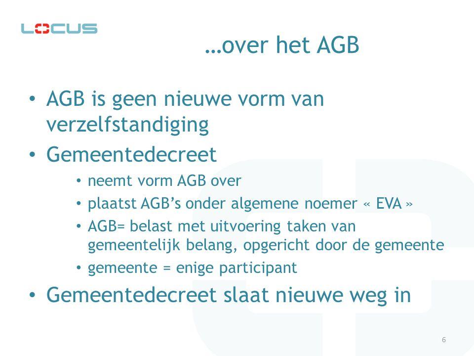 …over het AGB en de nieuwe weg in het Gemeentedecreet De beperking van AGB's tot activiteiten van industriële/commerciële aard wordt opgegeven Het K.B.