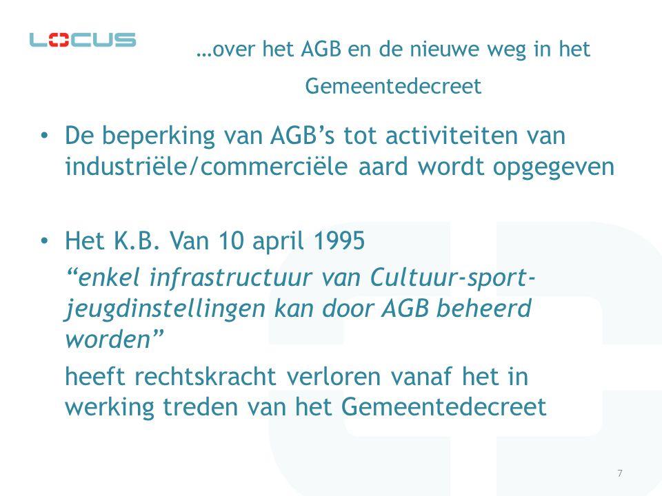 ...voortaan Voortaan zullen AGB's alle beleidsuitvoerende taken van gemeentelijk belang kunnen opnemen.