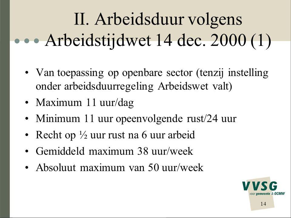 II. Arbeidsduur volgens Arbeidstijdwet 14 dec. 2000 (1) Van toepassing op openbare sector (tenzij instelling onder arbeidsduurregeling Arbeidswet valt