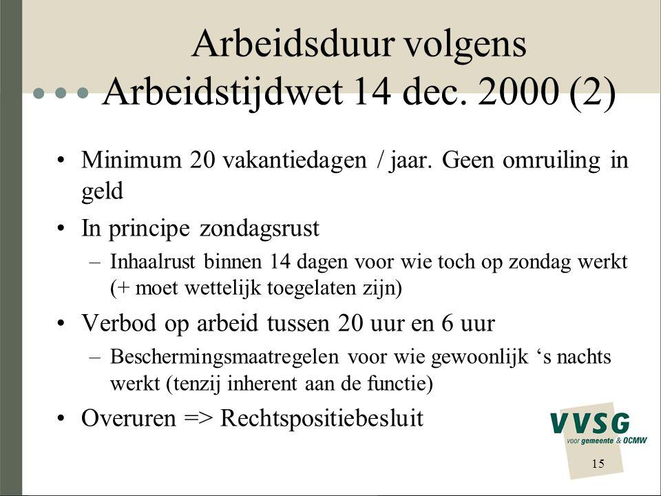 Arbeidsduur volgens Arbeidstijdwet 14 dec. 2000 (2) Minimum 20 vakantiedagen / jaar. Geen omruiling in geld In principe zondagsrust –Inhaalrust binnen