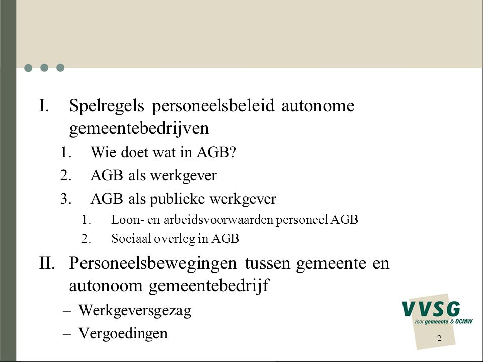 I.Spelregels personeelsbeleid autonome gemeentebedrijven 1.Wie doet wat in AGB? 2.AGB als werkgever 3.AGB als publieke werkgever 1.Loon- en arbeidsvoo
