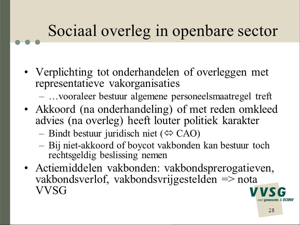 28 Sociaal overleg in openbare sector Verplichting tot onderhandelen of overleggen met representatieve vakorganisaties –…vooraleer bestuur algemene pe