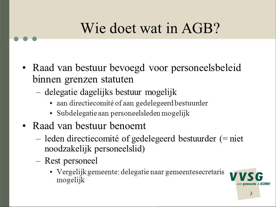 3 Wie doet wat in AGB? Raad van bestuur bevoegd voor personeelsbeleid binnen grenzen statuten –delegatie dagelijks bestuur mogelijk aan directiecomité