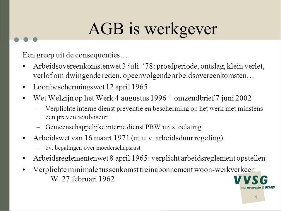 AGB is werkgever Een greep uit de consequenties… Arbeidsovereenkomstenwet 3 juli '78: proefperiode, ontslag, klein verlet, verlof om dwingende reden,