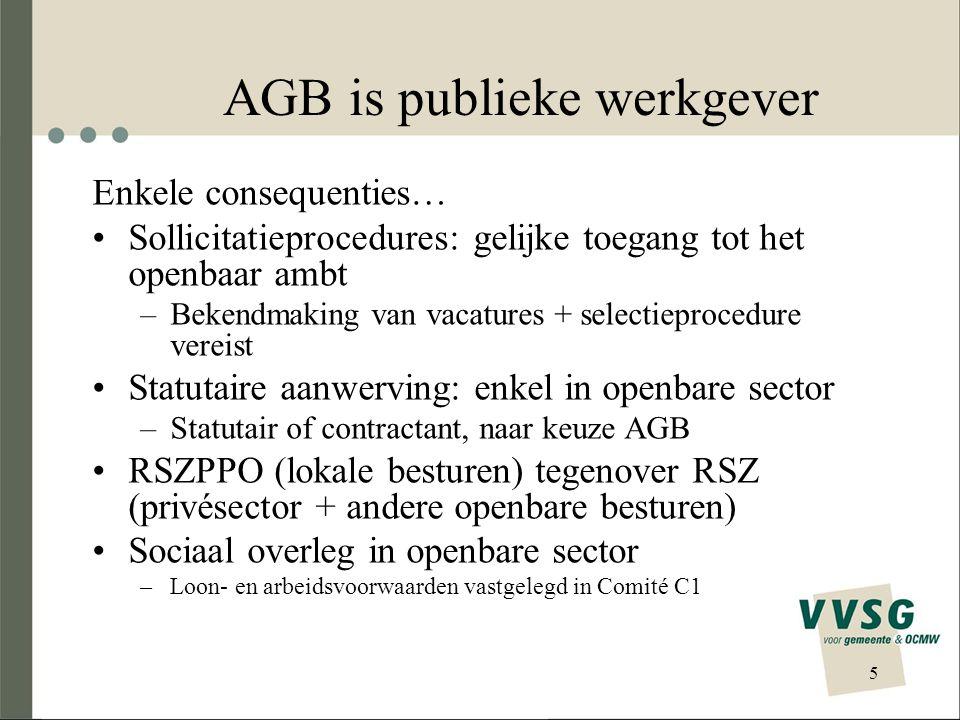 5 AGB is publieke werkgever Enkele consequenties… Sollicitatieprocedures: gelijke toegang tot het openbaar ambt –Bekendmaking van vacatures + selectie