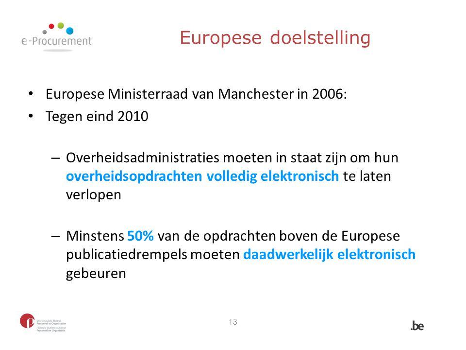 Europese doelstelling Europese Ministerraad van Manchester in 2006: Tegen eind 2010 – Overheidsadministraties moeten in staat zijn om hun overheidsopd