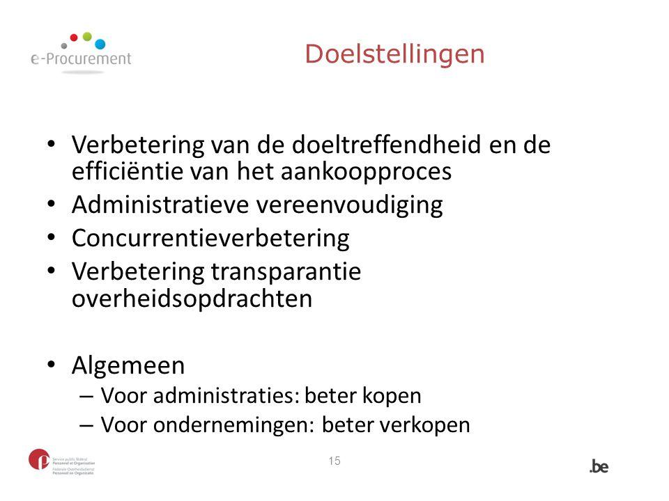 Doelstellingen Verbetering van de doeltreffendheid en de efficiëntie van het aankoopproces Administratieve vereenvoudiging Concurrentieverbetering Ver