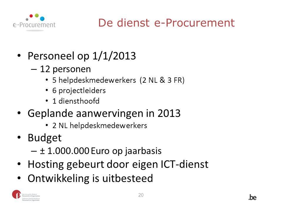 De dienst e-Procurement Personeel op 1/1/2013 – 12 personen 5 helpdeskmedewerkers (2 NL & 3 FR) 6 projectleiders 1 diensthoofd Geplande aanwervingen i