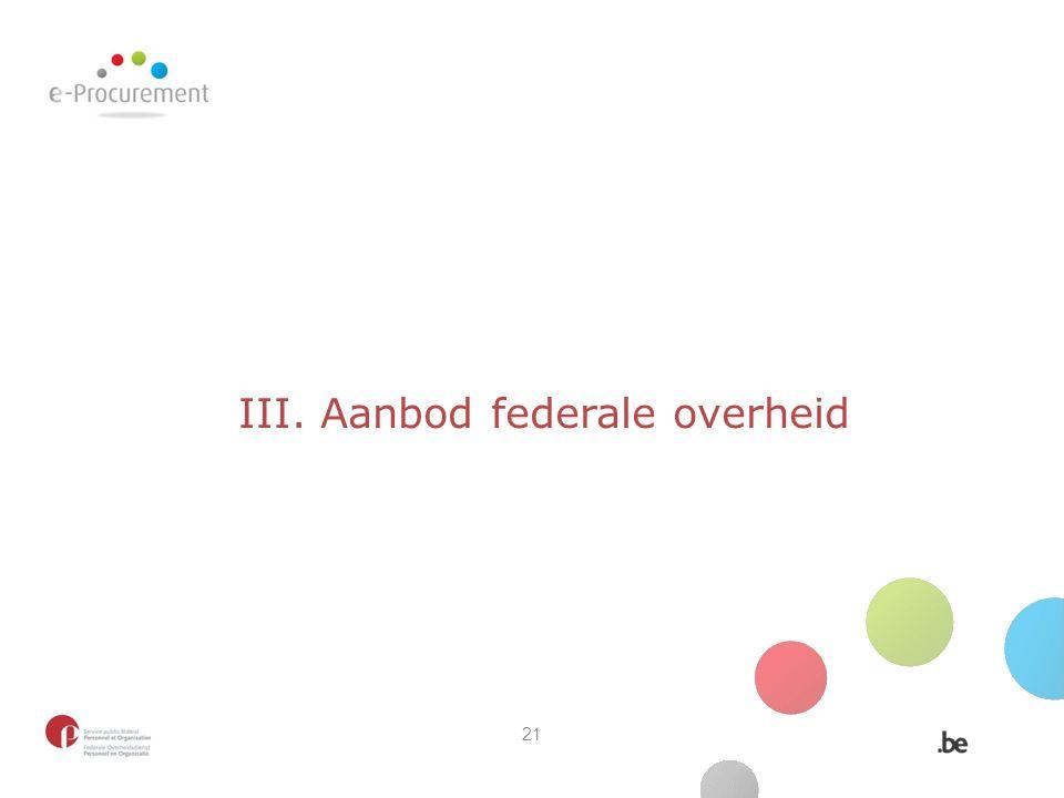 III. Aanbod federale overheid 21