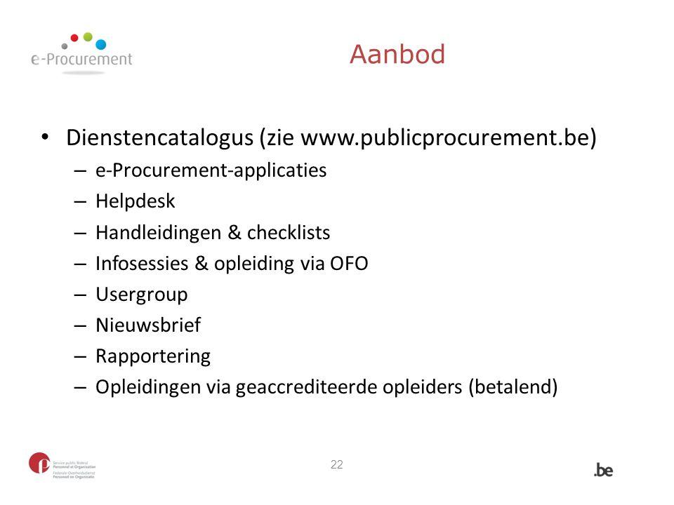 Aanbod Dienstencatalogus (zie www.publicprocurement.be) – e-Procurement-applicaties – Helpdesk – Handleidingen & checklists – Infosessies & opleiding