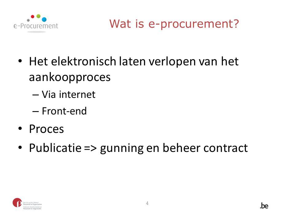 Wat is e-procurement? Het elektronisch laten verlopen van het aankoopproces – Via internet – Front-end Proces Publicatie => gunning en beheer contract