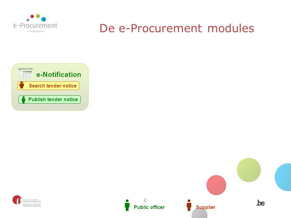Public officerSupplier Publish tender notice e-Notification Search tender notice De e-Procurement modules 6