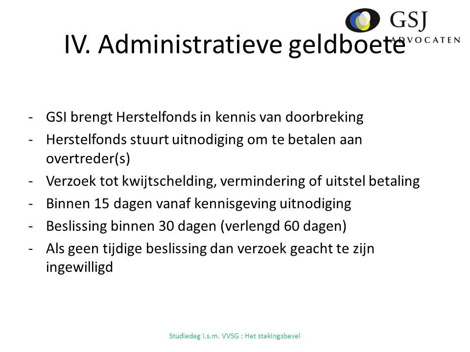 IV. Administratieve geldboete -GSI brengt Herstelfonds in kennis van doorbreking -Herstelfonds stuurt uitnodiging om te betalen aan overtreder(s) -Ver