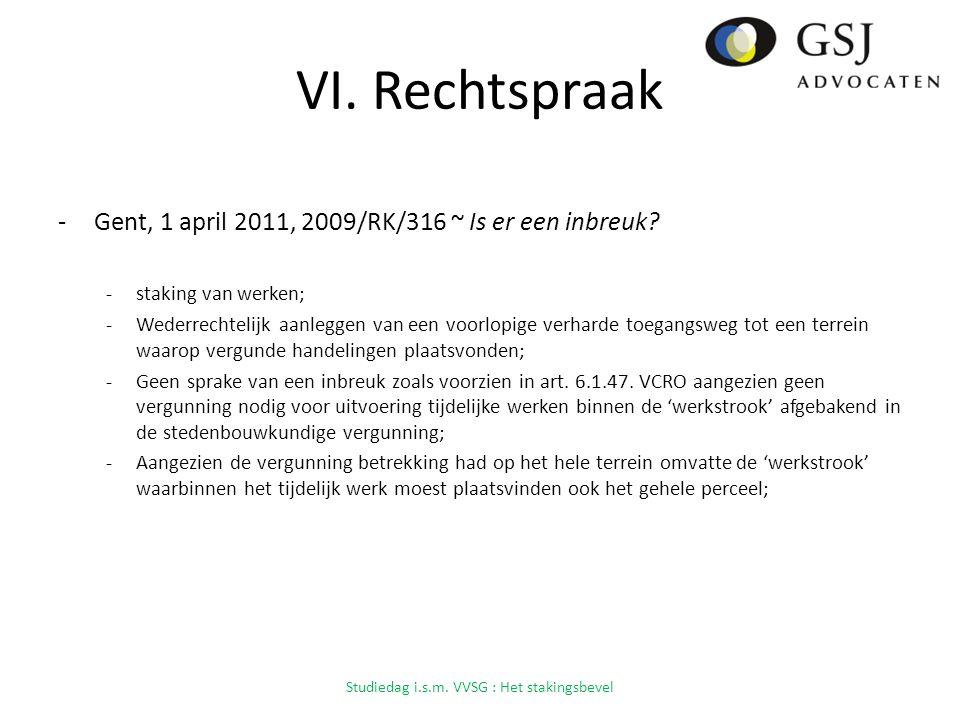 VI.Rechtspraak -Gent, 1 april 2011, 2009/RK/316 ~ Is er een inbreuk.
