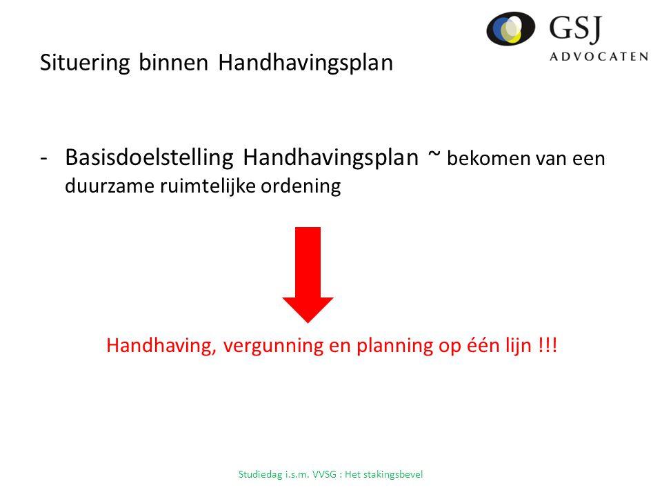 Situering binnen Handhavingsplan -Basisdoelstelling Handhavingsplan ~ bekomen van een duurzame ruimtelijke ordening Handhaving, vergunning en planning op één lijn !!.