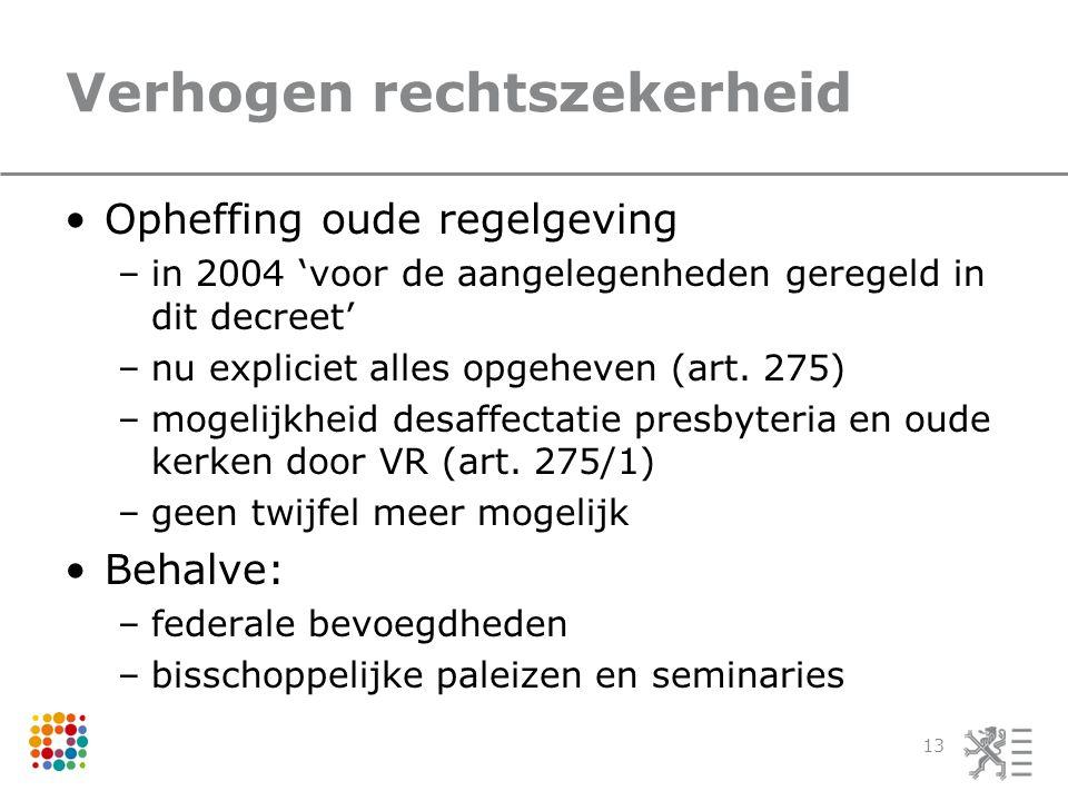 Verhogen rechtszekerheid Opheffing oude regelgeving –in 2004 'voor de aangelegenheden geregeld in dit decreet' –nu expliciet alles opgeheven (art.