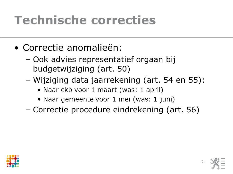 Technische correcties Correctie anomalieën: –Ook advies representatief orgaan bij budgetwijziging (art.