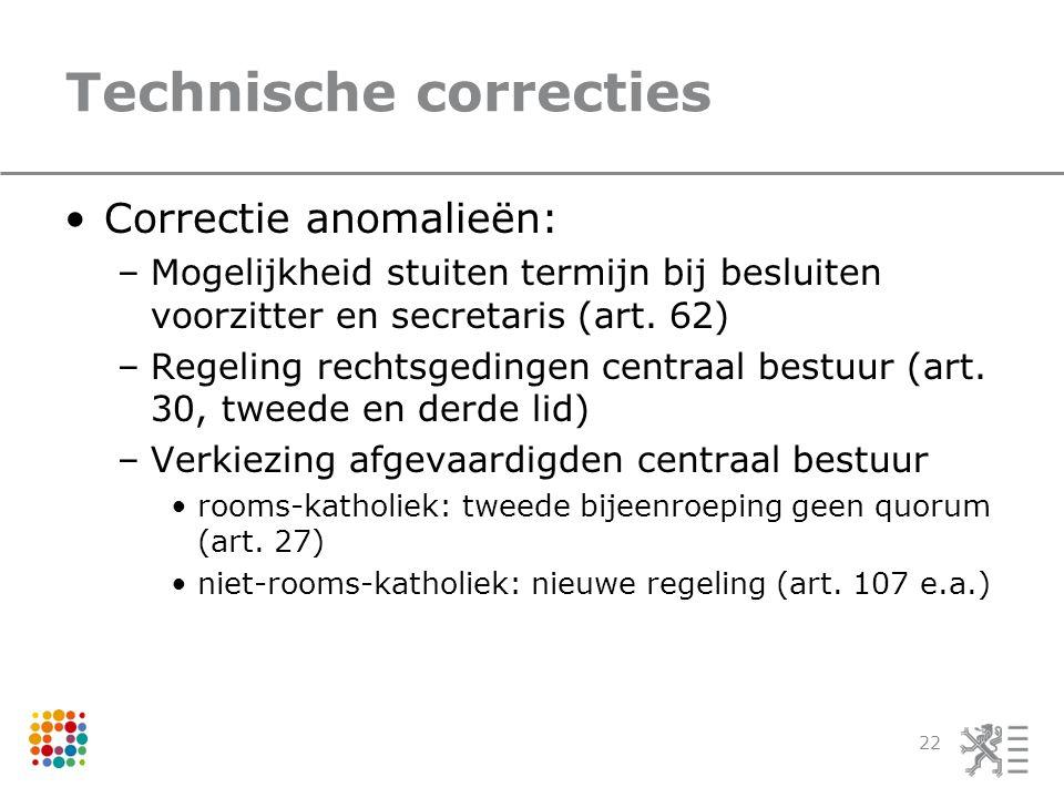 Technische correcties Correctie anomalieën: –Mogelijkheid stuiten termijn bij besluiten voorzitter en secretaris (art.
