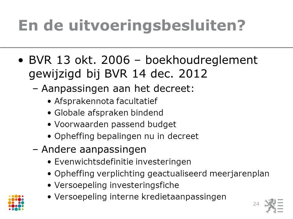 En de uitvoeringsbesluiten.BVR 13 okt. 2006 – boekhoudreglement gewijzigd bij BVR 14 dec.