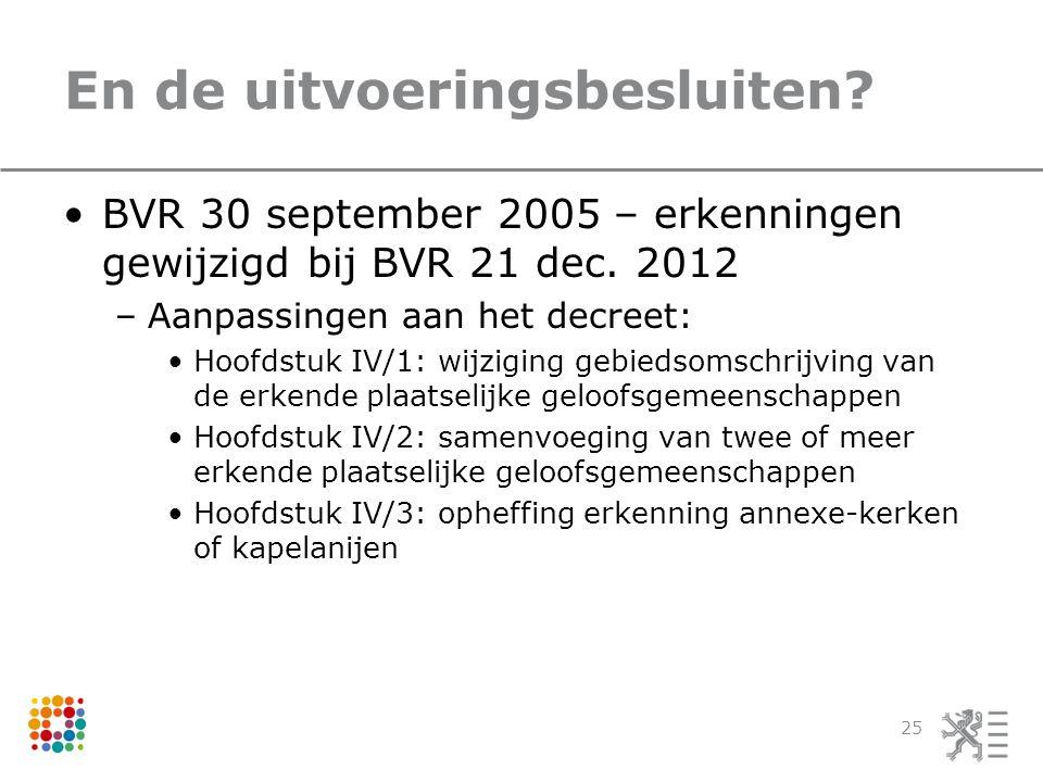 En de uitvoeringsbesluiten.BVR 30 september 2005 – erkenningen gewijzigd bij BVR 21 dec.
