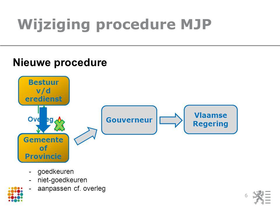 Wijziging procedure MJP 6 Bestuur v/d eredienst Overleg Nieuwe procedure Gouverneur Vlaamse Regering Gemeente of Provincie Gemeente of Provincie .
