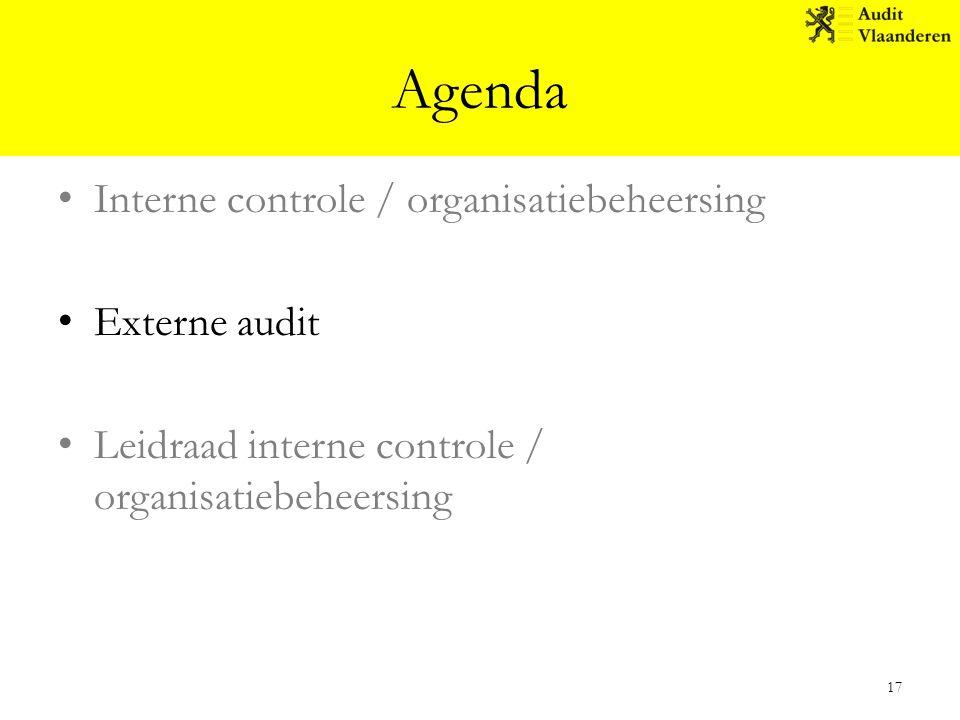 Agenda Interne controle / organisatiebeheersing Externe audit Leidraad interne controle / organisatiebeheersing 17