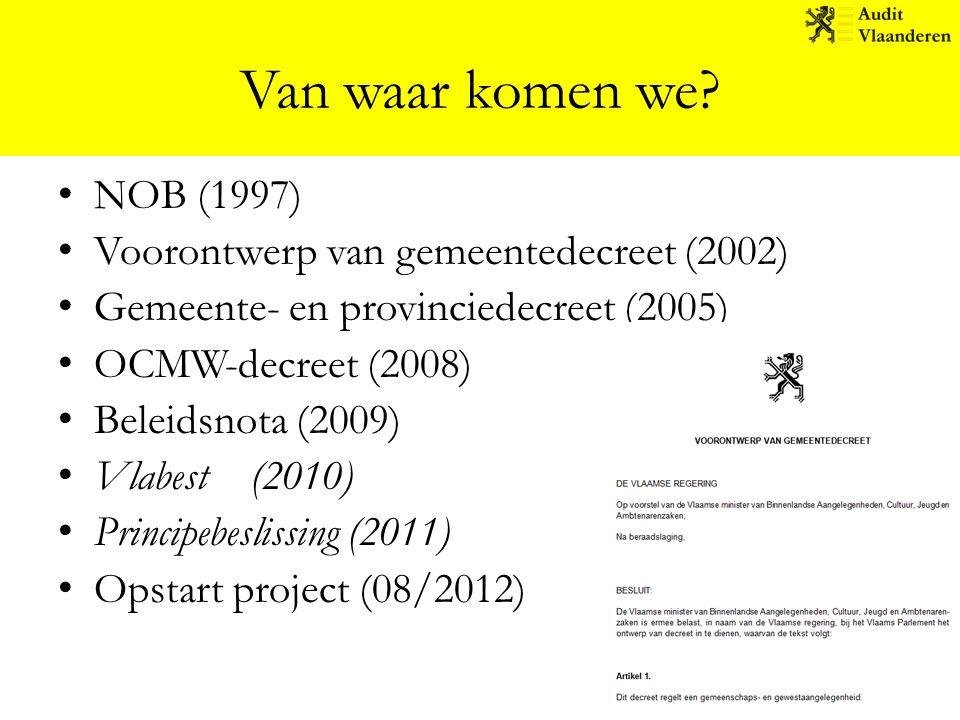 Van waar komen we? NOB (1997) Voorontwerp van gemeentedecreet (2002) Gemeente- en provinciedecreet (2005) OCMW-decreet (2008) Beleidsnota (2009) Vlabe