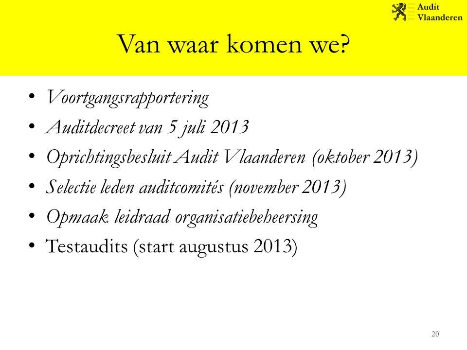 Van waar komen we? Voortgangsrapportering Auditdecreet van 5 juli 2013 Oprichtingsbesluit Audit Vlaanderen (oktober 2013) Selectie leden auditcomités