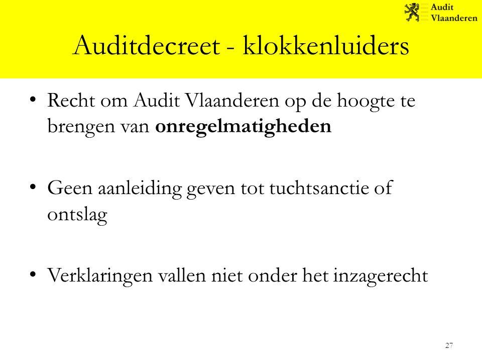 Auditdecreet - klokkenluiders Recht om Audit Vlaanderen op de hoogte te brengen van onregelmatigheden Geen aanleiding geven tot tuchtsanctie of ontsla