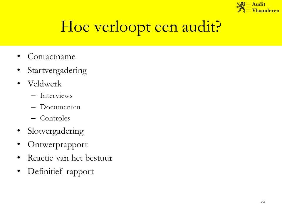 Hoe verloopt een audit? Contactname Startvergadering Veldwerk – Interviews – Documenten – Controles Slotvergadering Ontwerprapport Reactie van het bes
