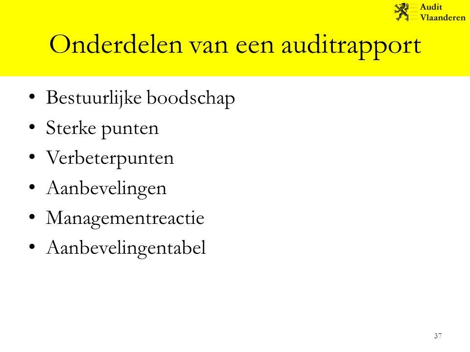 Onderdelen van een auditrapport Bestuurlijke boodschap Sterke punten Verbeterpunten Aanbevelingen Managementreactie Aanbevelingentabel 37