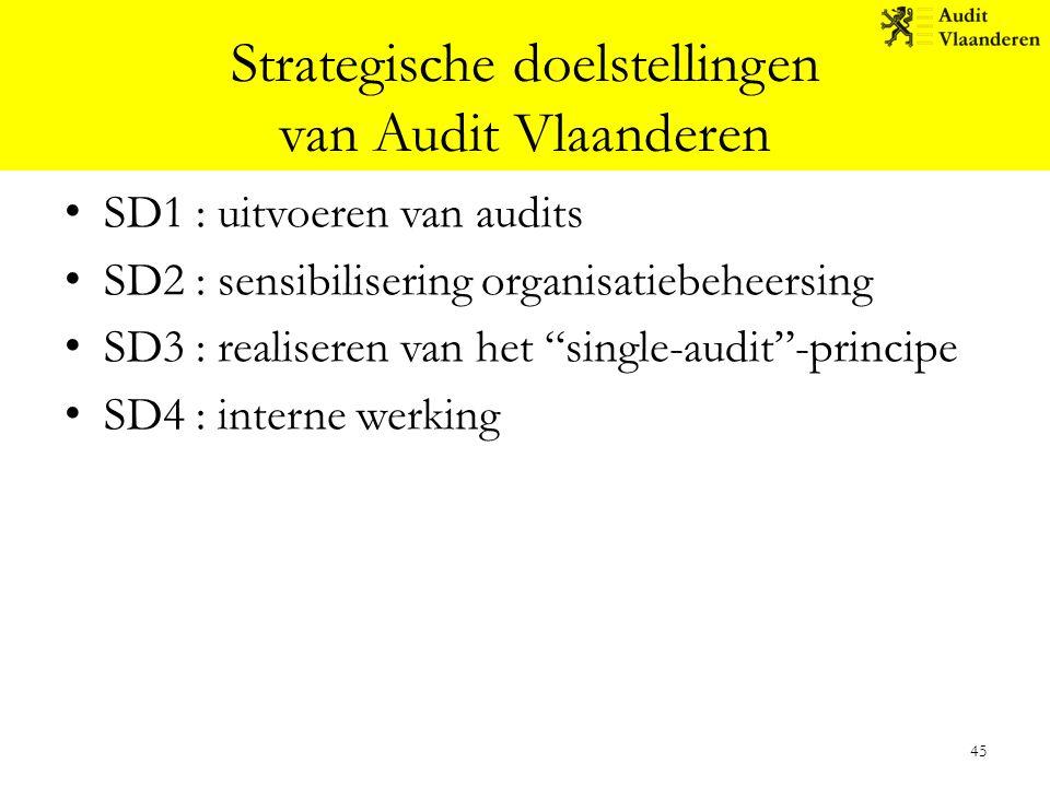 """Strategische doelstellingen van Audit Vlaanderen SD1 : uitvoeren van audits SD2 : sensibilisering organisatiebeheersing SD3 : realiseren van het """"sing"""