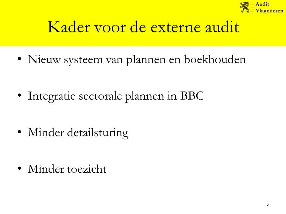 Kader voor de externe audit Nieuw systeem van plannen en boekhouden Integratie sectorale plannen in BBC Minder detailsturing Minder toezicht 5