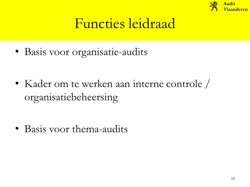 Functies leidraad Basis voor organisatie-audits Kader om te werken aan interne controle / organisatiebeheersing Basis voor thema-audits 50