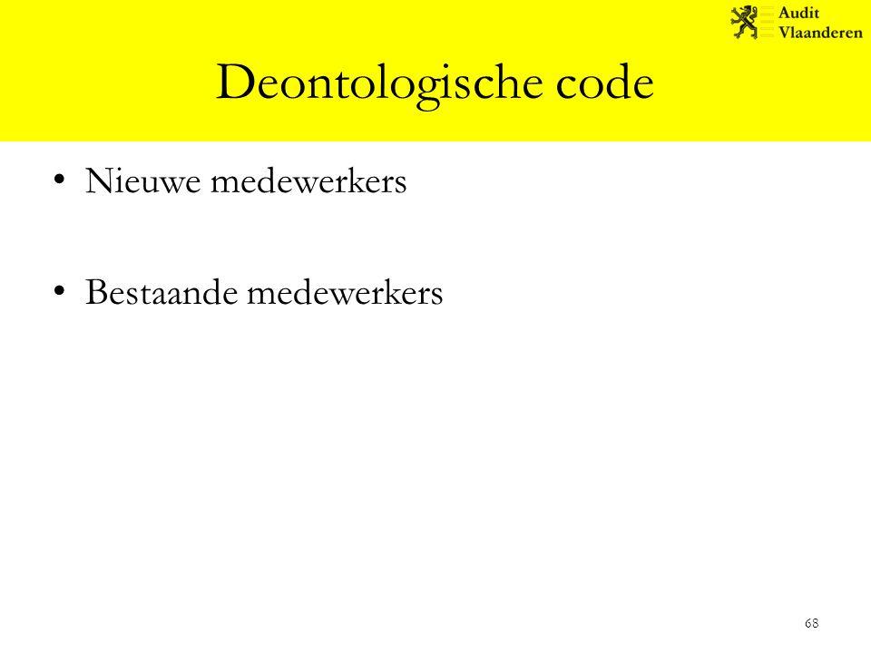 Deontologische code Nieuwe medewerkers Bestaande medewerkers 68