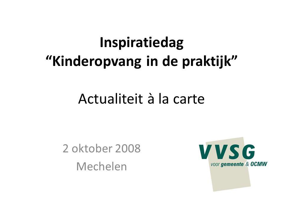 """Inspiratiedag """"Kinderopvang in de praktijk"""" Actualiteit à la carte 2 oktober 2008 Mechelen"""