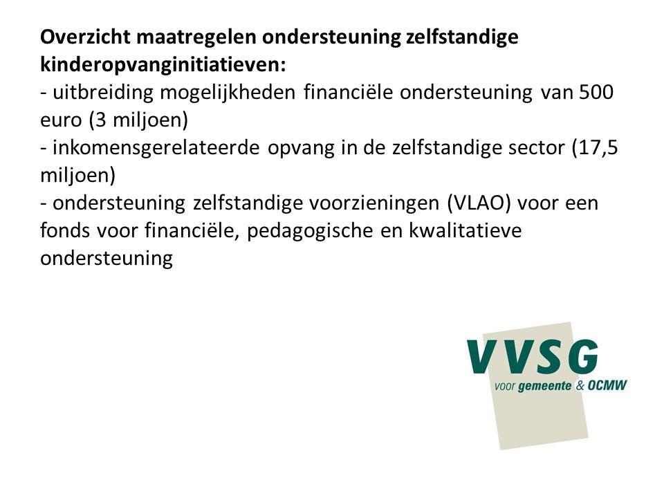 Overzicht maatregelen ondersteuning zelfstandige kinderopvanginitiatieven: - uitbreiding mogelijkheden financiële ondersteuning van 500 euro (3 miljoe