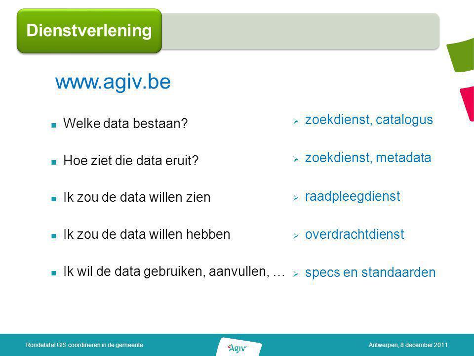 Welke data bestaan? Hoe ziet die data eruit? Ik zou de data willen zien Ik zou de data willen hebben Ik wil de data gebruiken, aanvullen, … Dienstverl