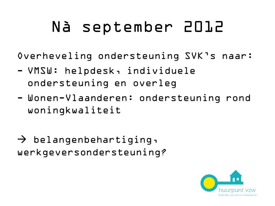 Nà september 2012 Overheveling ondersteuning SVK's naar: -VMSW: helpdesk, individuele ondersteuning en overleg -Wonen-Vlaanderen: ondersteuning rond woningkwaliteit  belangenbehartiging, werkgeversondersteuning?