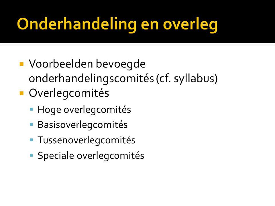  Voorbeelden bevoegde onderhandelingscomités (cf. syllabus)  Overlegcomités  Hoge overlegcomités  Basisoverlegcomités  Tussenoverlegcomités  Spe