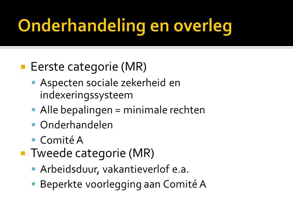  Eerste categorie (MR)  Aspecten sociale zekerheid en indexeringssysteem  Alle bepalingen = minimale rechten  Onderhandelen  Comité A  Tweede ca
