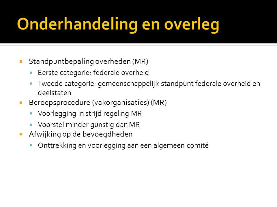  Standpuntbepaling overheden (MR)  Eerste categorie: federale overheid  Tweede categorie: gemeenschappelijk standpunt federale overheid en deelstat