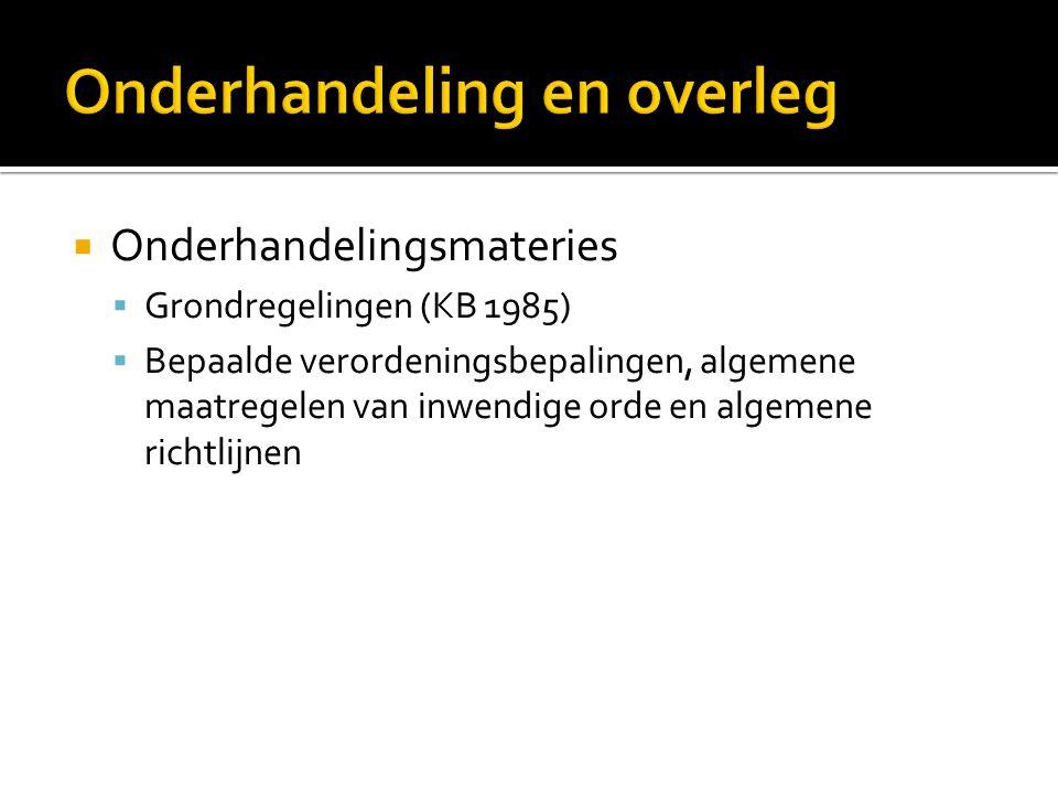  Onderhandelingsmateries  Grondregelingen (KB 1985)  Bepaalde verordeningsbepalingen, algemene maatregelen van inwendige orde en algemene richtlijn