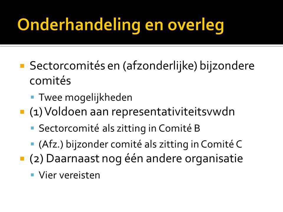  Sectorcomités en (afzonderlijke) bijzondere comités  Twee mogelijkheden  (1) Voldoen aan representativiteitsvwdn  Sectorcomité als zitting in Com