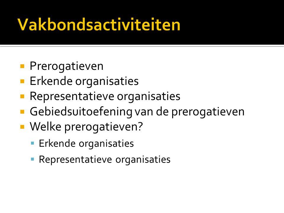  Prerogatieven  Erkende organisaties  Representatieve organisaties  Gebiedsuitoefening van de prerogatieven  Welke prerogatieven?  Erkende organ