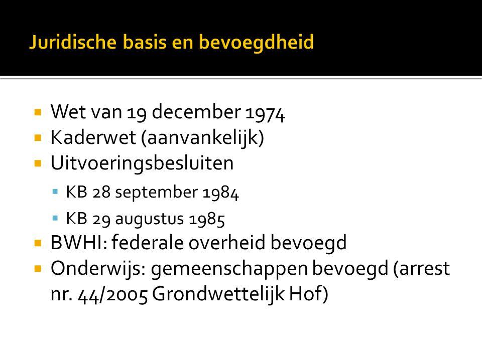  Wet van 19 december 1974  Kaderwet (aanvankelijk)  Uitvoeringsbesluiten  KB 28 september 1984  KB 29 augustus 1985  BWHI: federale overheid bev